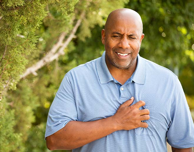 man with chest pain