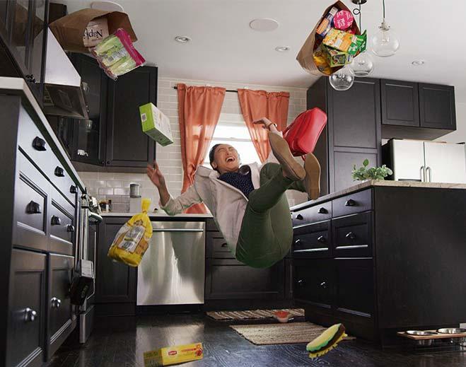 man slipping in kitchen